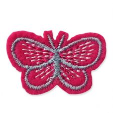 DARK PINK BUTTERFLY MOTIF IRON ON EMBROIDERED PATCH APPLIQUE